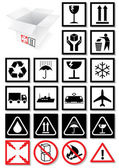 Vector illustration set of packing symbols and labels. — Stock Vector