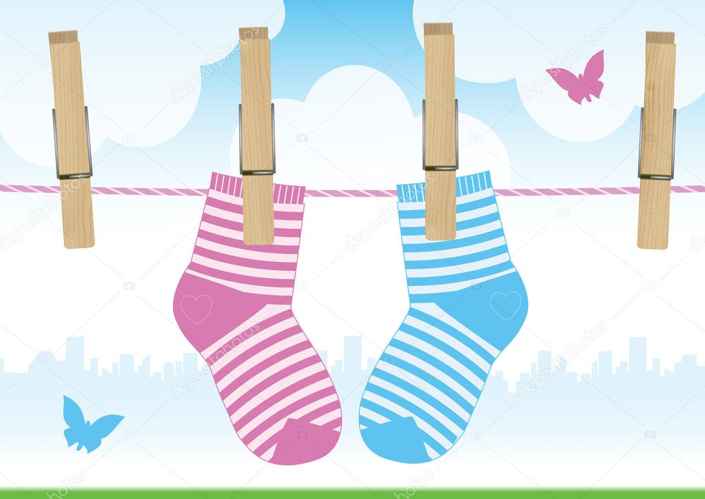 Vector illustration of a clothesline with clothes pins and baby socks. All vector objects and details are isolated and grouped. — Stock Vector #3505275