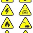 Stock Vector: Vector set of chemical warning signs.
