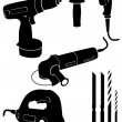Stock Vector: Vector illustration set of 4 different power tools.