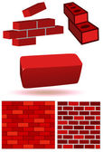 Brick and wall vector illustration set. — Stock Vector