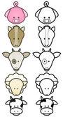 Vector illustration set of cartoon farm animals. — Stock Vector