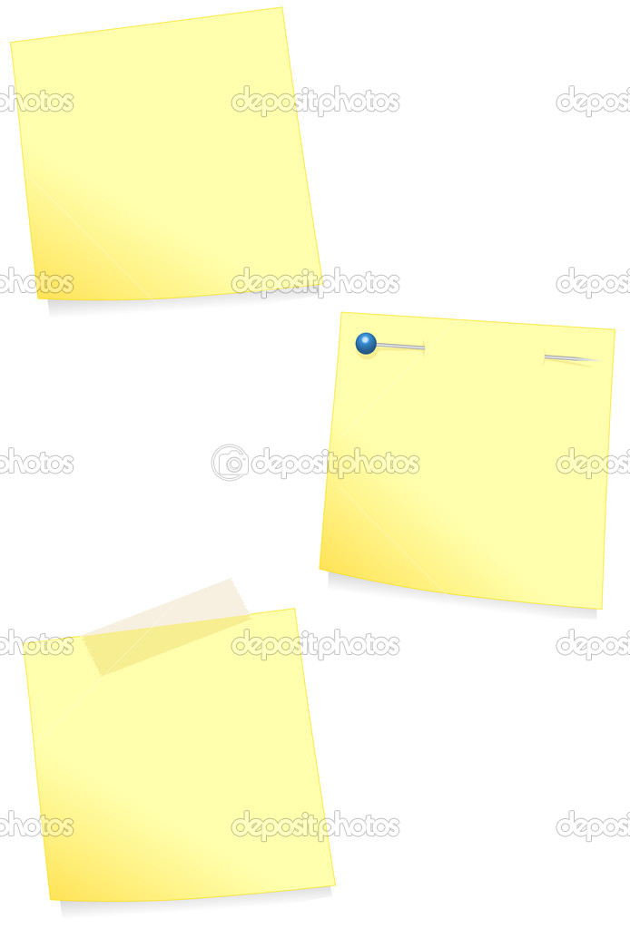Vector illustration of a post it (note paper). Colors and transparent background color are easy to adjust. — Stock Vector #3530588