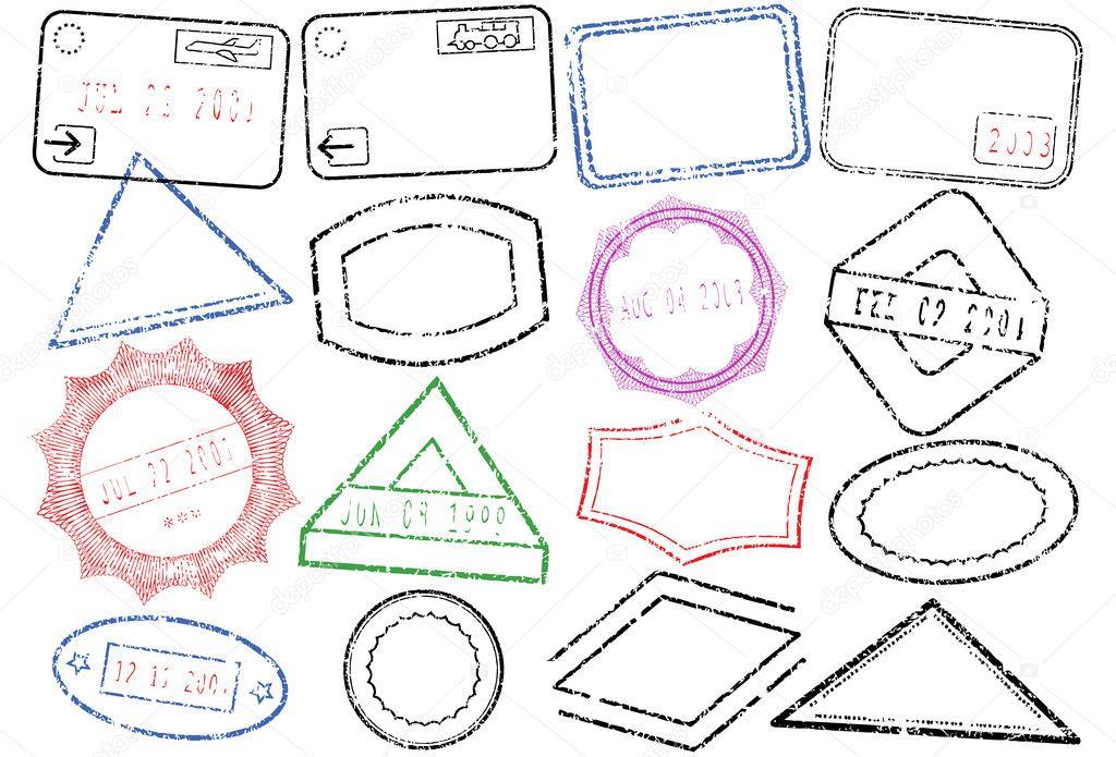 Passport Or Post Stamp Vector Illustration Set Stock