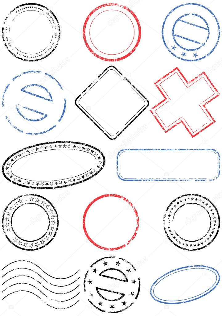 Postage stamp vector illustration set. — Stock Vector ...