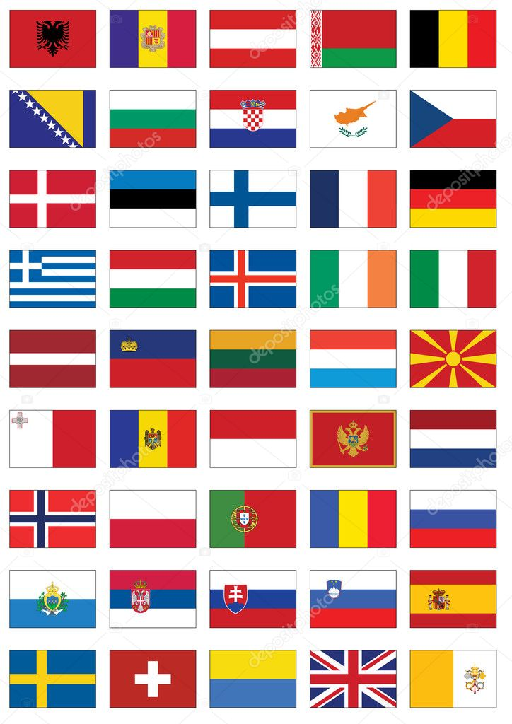 Vector flag set of all european countries stock illustration