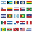 Vector flag set of all American countries. — Stockvectorbeeld