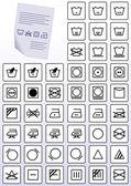 Vector set of apparel care instruction symbols. — Stock Vector