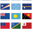 Vector flag set of all Australian and Oceanian countries. - Stock Vector