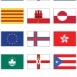 Vector flag set of world continents and misc. countries. — Stock Vector