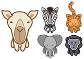 Vector set of cartoon wild or zoo animals. — Stock Vector