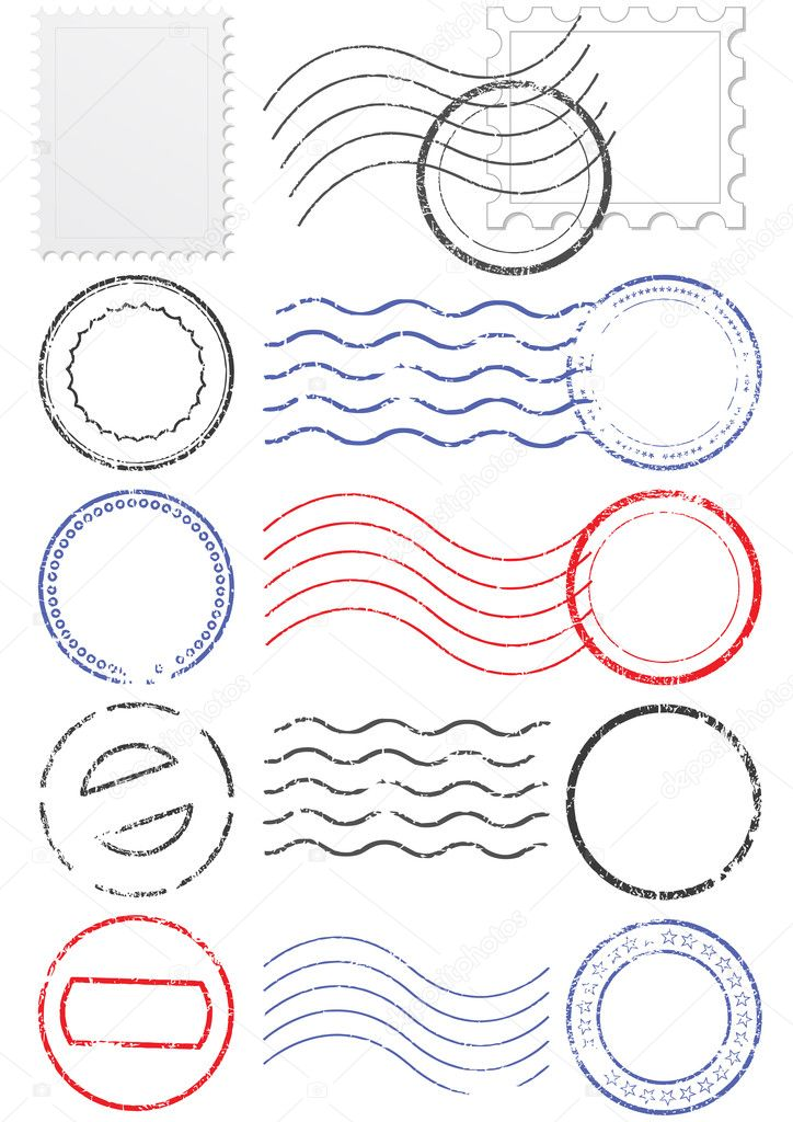 Vector set of stamps and postmarks. All vector objects are isolated. Colors and transparent background color are easy to adjust. — Image vectorielle #3662663