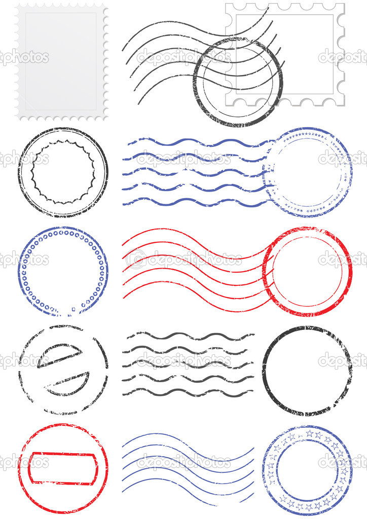 Vector set of stamps and postmarks. All vector objects are isolated. Colors and transparent background color are easy to adjust. — Stock Vector #3662663