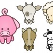Vector illustration set of cartoon farm animals. — 图库矢量图片