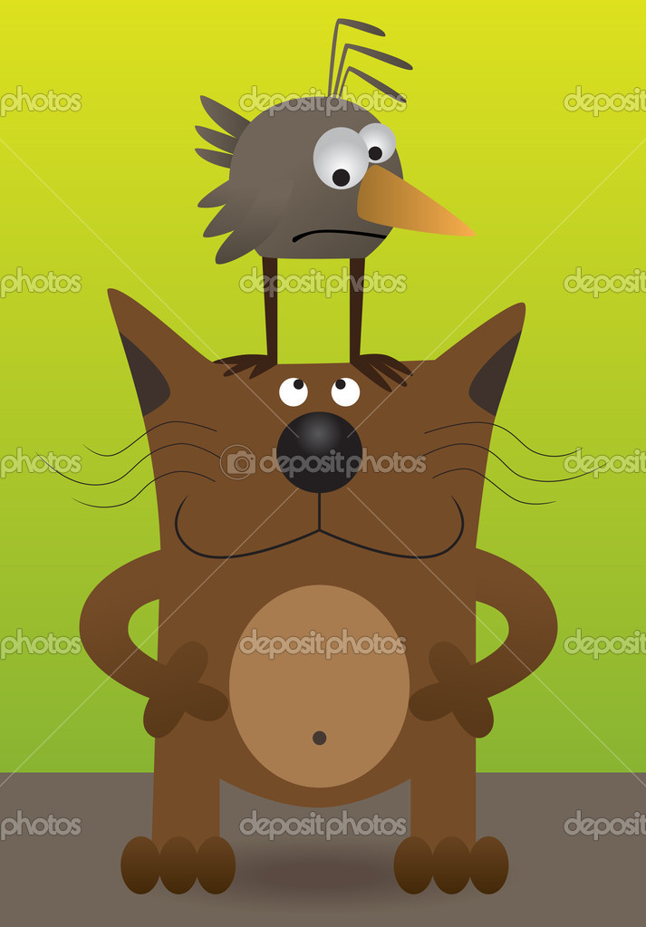 Bird sitting on the cat — Stock Vector #3471825