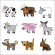 Stock Vector: Domestic animals set