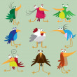 Stock Vector: Funny bird set