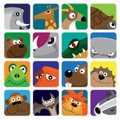 Wild animals vector icon set — Stock Vector