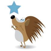 Hedgehog reach for the star — Stock Vector