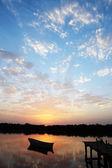 Little boat sunset — Stock Photo