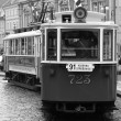 Black and white tram — Stockfoto