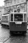 Black and white tram — Stock Photo