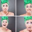 Collage of emotinal young  woman with green scarf on head - Stock Photo