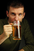 Drinking beer — Stock Photo