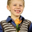 Boy with flower — Stock Photo
