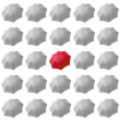 Red umbrella among white — Stock Photo