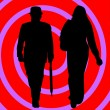 Couple over spiral background - Stock Photo