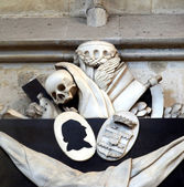 Memento mori - skull, reaper sickle — Stock Photo