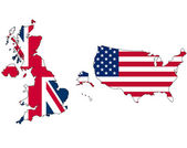 UK and USA flag in map — Stock Photo