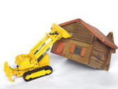 Eviction from house being demolished with caterpillar — Stock Photo