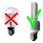 Traditional vs Fluorescent Light bulb — Stock Photo