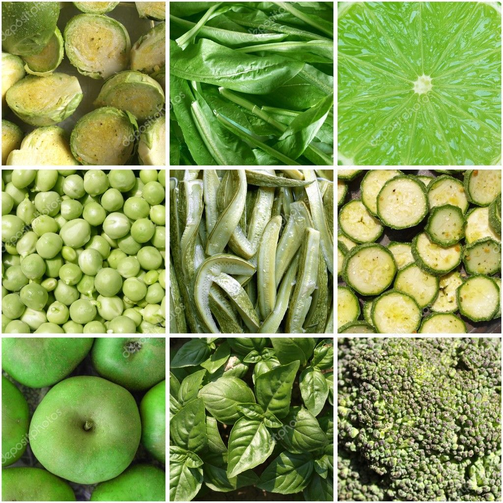 Food collage including 9 pictures of green vegetables — Stock Photo #3531902