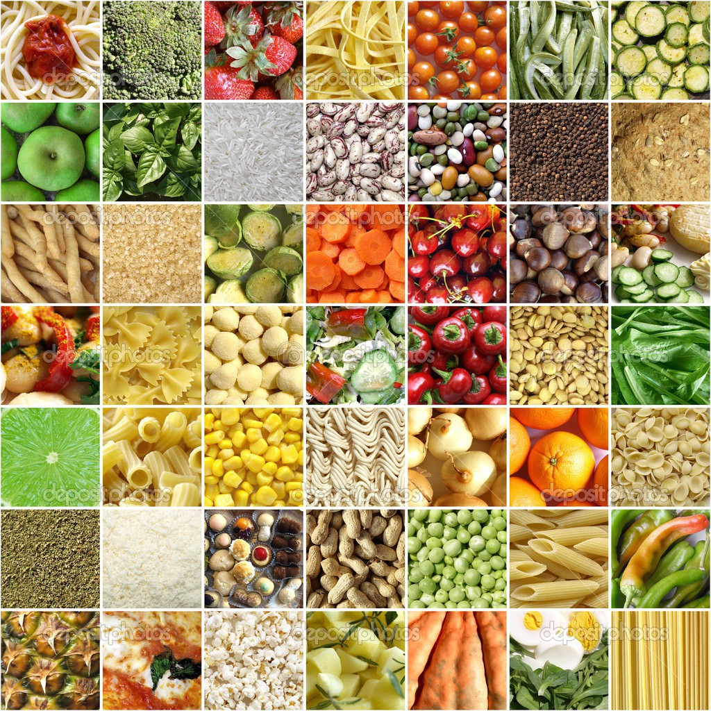 Food collage including 49 pictures of vegetables, fruit, pasta and more — Stock Photo #3532233