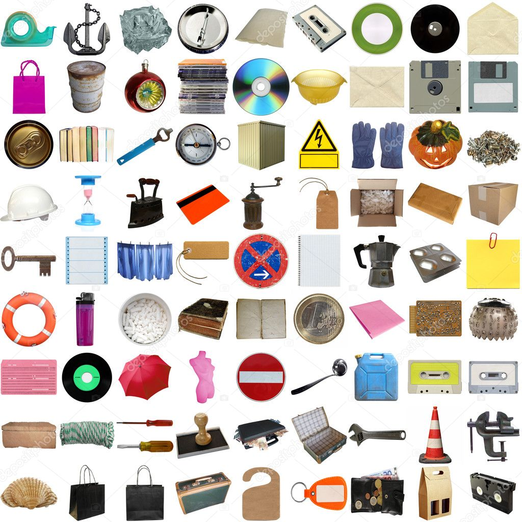 Many object isolated over a white background (all pictures in the collage are mine) — Stock Photo #3533014