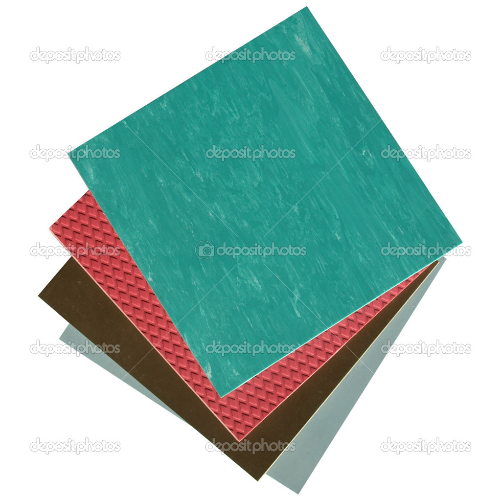 Coloured rubber or linoleum floor tiles sampler — Stock Photo #3533303