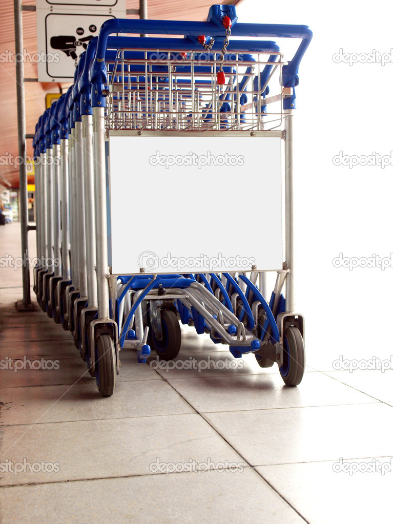 Trolley for luggage or baggage transportation at airports — Stock Photo #3534377