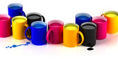 CMYK mugs lineup — Stock Photo