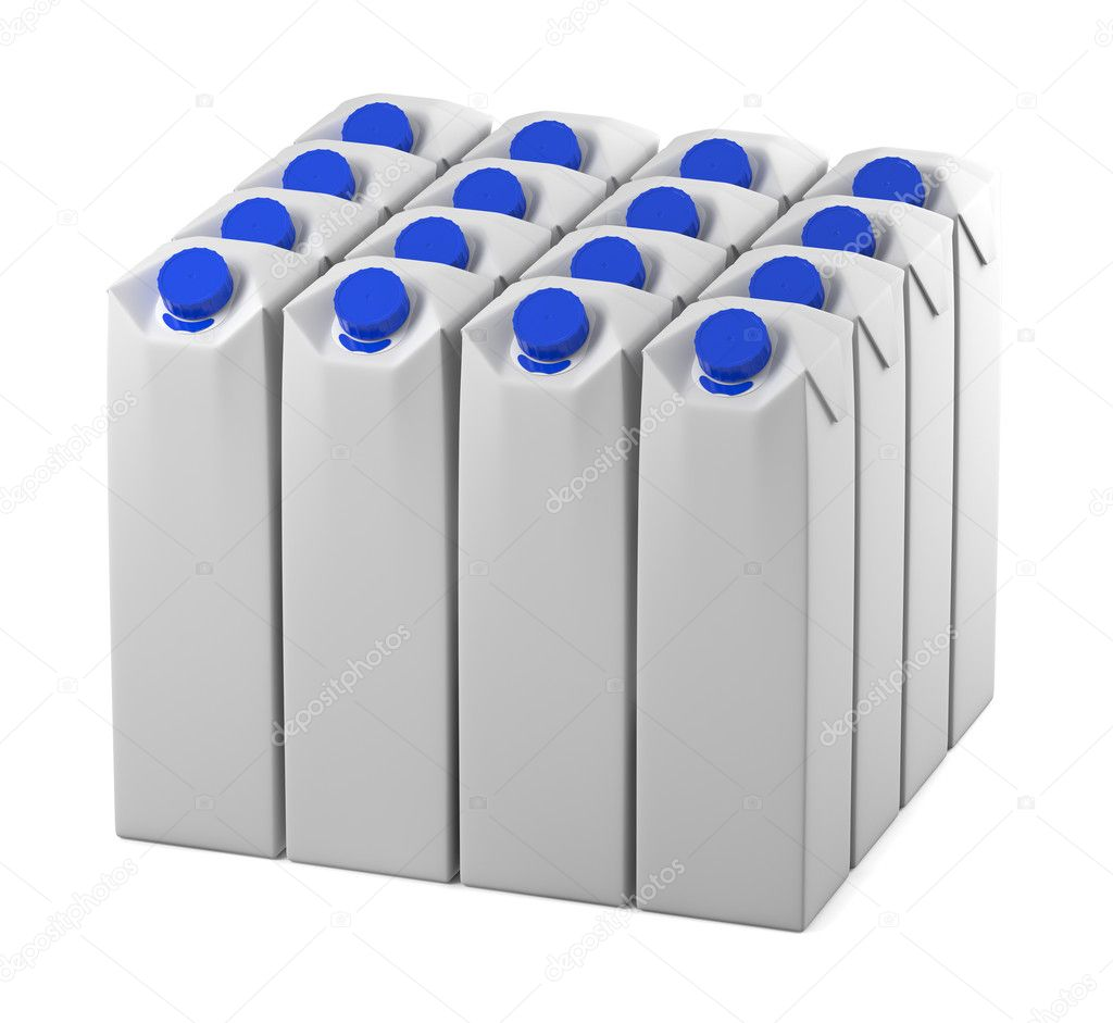 Clear milk or juice package model lineup for design preview — Stock Photo #3518430