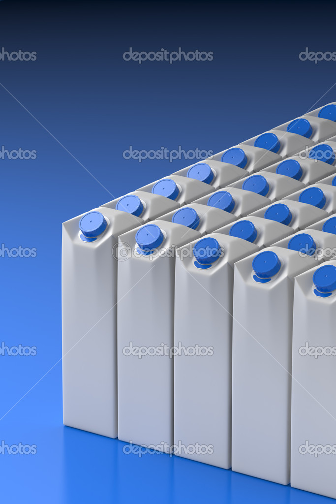 Line-up of a clear milk or juice package models — Stock Photo #3518439