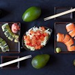 Sushi plate with chopsticks — Foto Stock