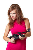 Sexy Action Girl with gun — Stock Photo