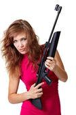 Sexy Action Girl with gun — Stock Photo