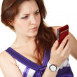 Young beautiful woman reading sms — Stock Photo