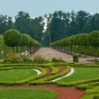 Avenue and bed in formal garden - Stock Photo