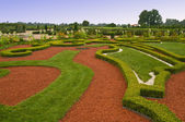 Avenue and bed in formal garden — Stock Photo