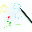 Children's drawing sun and flower - Stock Photo